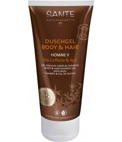 Homme II 2w1 Żel pod prysznic do ciała i włosów z bio-kofeiną i akai - Sante 200 ml